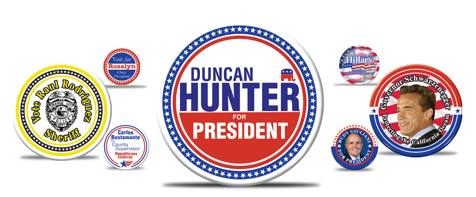 Custom, Presidential, Political Campaign, Election, Band, Product Promotion, Military, Photo Buttons, Personalized Buttons and Badges